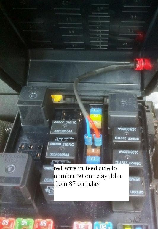 Automatically reset fuse at ignition chrysler c